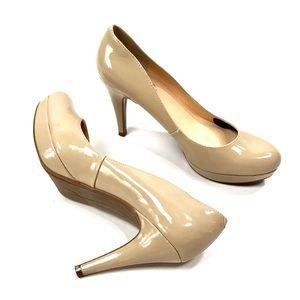 Marc fisher nude patent neutral platform heels
